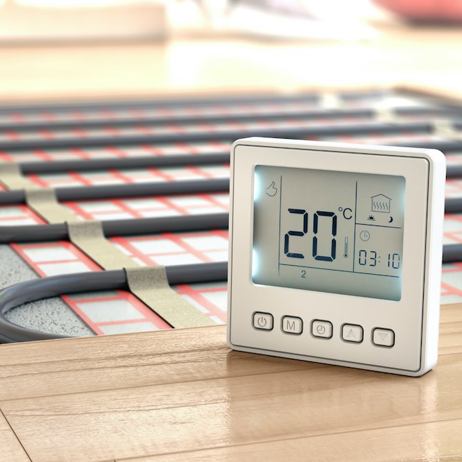 Warmtech Thermostat with dual controls for heating