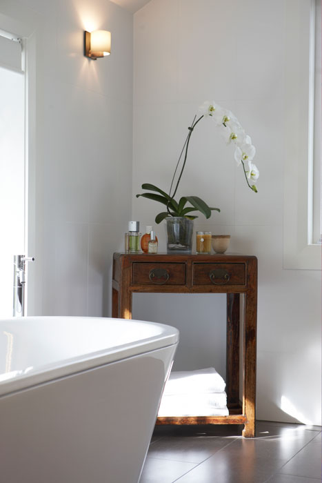 white bathroom with undetile heating