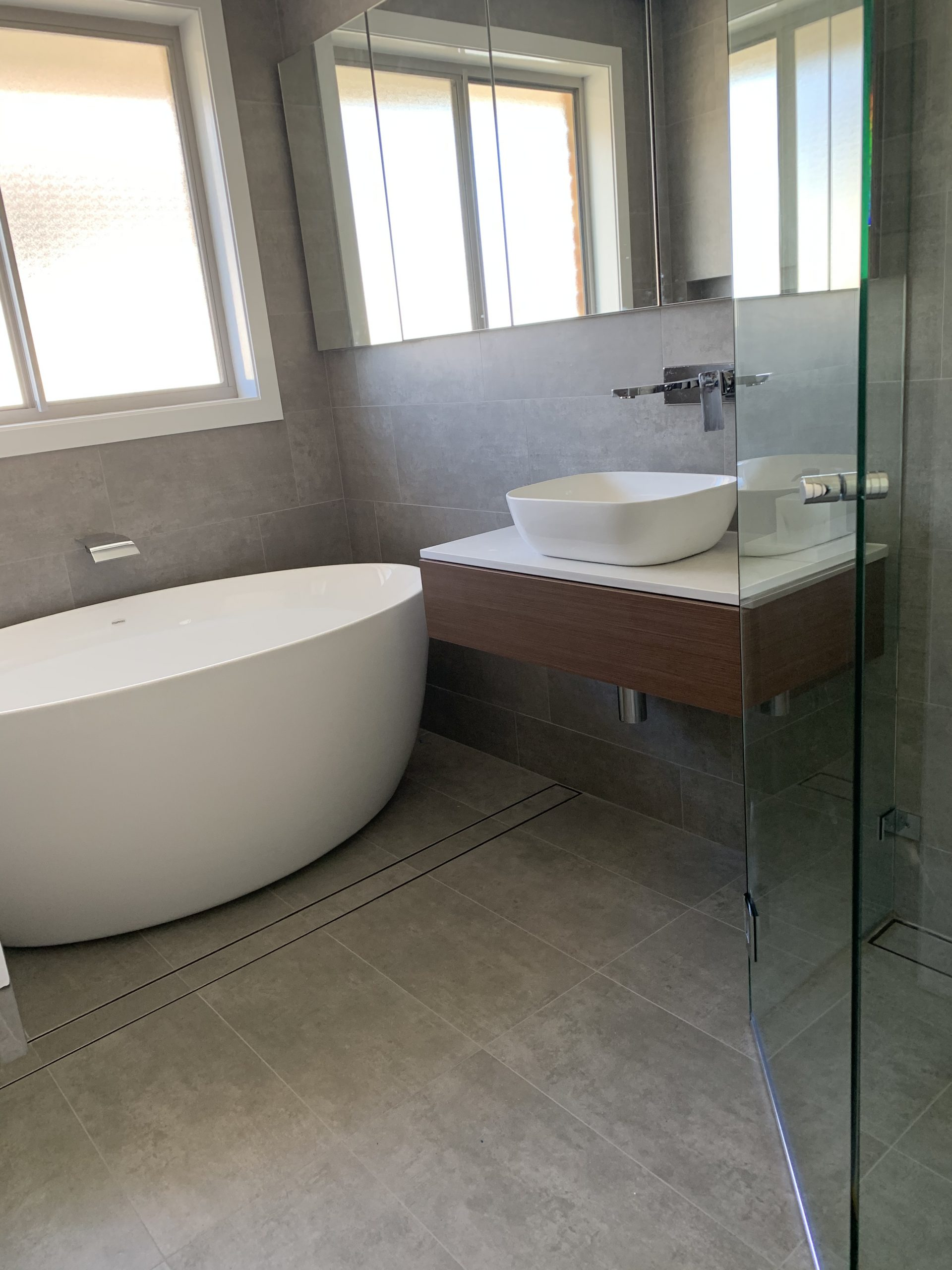 Bathroom in Belrose with In Slab Heating and inscreed heating