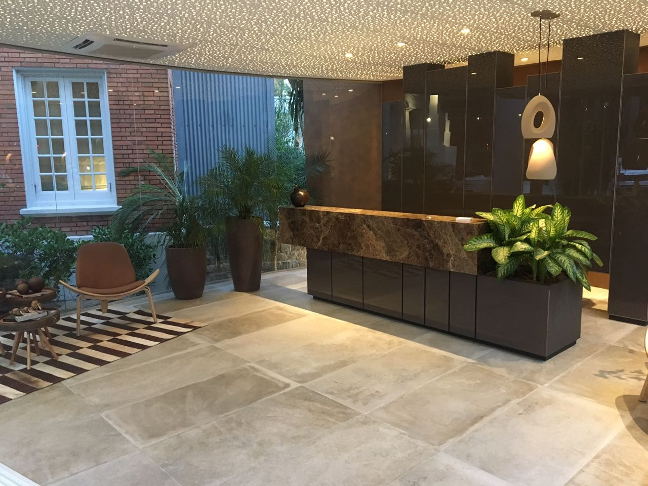 Foyer of business with large undertile heating area completed