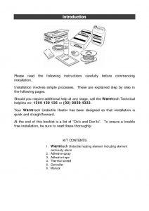 Undertile Installation Manual